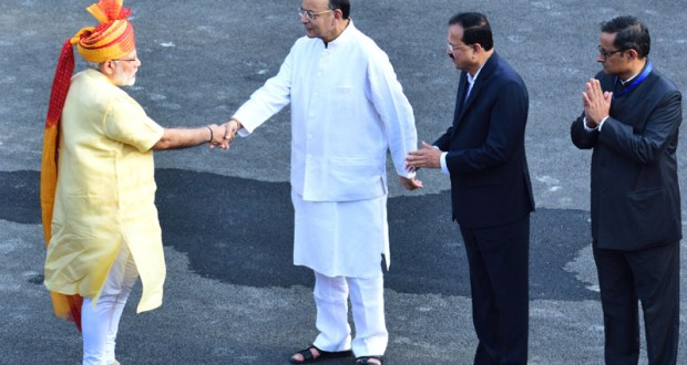 Hands that are close to realising dream of one billion Jan Dhan accounts- 1 Billion Aadhar- 1 Billion Mobiles in India. File Pic showing Prime Minister, Narendra Modi being received by the Union Minister for Finance, Corporate Affairs and Defence, Arun Jaitley, on his arrival at Red Fort, on the occasion of 71st Independence Day, in Delhi on August 15, 2017.