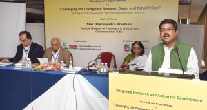 """The Minister of State for Petroleum and Natural Gas (Independent Charge), Dharmendra Pradhan addressing at a workshop and report release on """"Converging the Divergence between Diesel and Petrol Prices"""", in New Delhi on August 30, 2017."""
