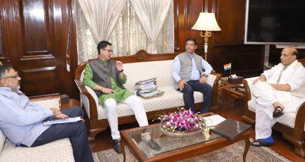 Pema Khandu also met Union Home Minister, Rajnath Singh. The Minister of State for Home Affairs, Kiren Rijiju and the Union Home Secretary, Rajiv Gauba are also seen.