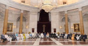 Pic showing President of India with dignitaries at 48th Conference of Governors concluded at Rashtrapati Bhavan