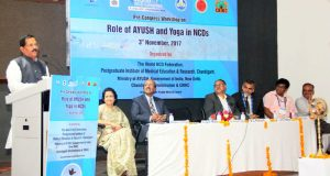 The Minister of State for AYUSH (Independent Charge), Shripad Yesso Naik addressing at the inauguration of the Pre- NCD Congress Workshop, at Chandigarh on November 03, 2017.