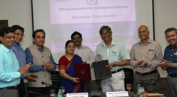 ITDC join hands with Jamia Millia Islamia University to start with 60 seats each in B.Voc and Diploma in Hospitality Programmes. CMD, ITDC and Vice Chancellor, JMI during the signing of the MoU.