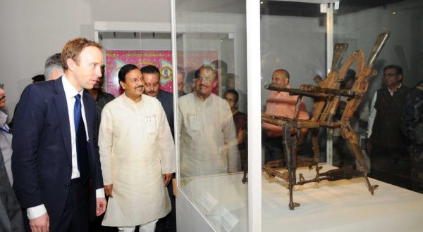 The Minister of State for Culture Mahesh Sharma and the Secretary of State for Digital, Culture, Media & Sport, UK, Matt Hancock visiting  the exhibition 'India & The World – A History in Nine Stories', in New Delhi on May 11, 2018.