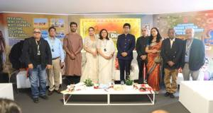 Indian delegation at the inaugural of the India Pavilion at Cannes Film Festival 2018, consisting of Bharat Bala, Ashok Parmar, Sharad Kelkar, Huma Qureshi, Vani Tripathi Tikoo, Prasoon Joshi, Vinay Mihan Kwatra, Shaji Karun and Jahnu Barua.