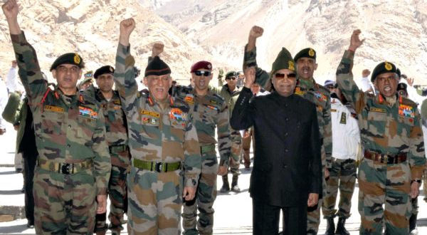 President of India  Ram Nath Kovind with the soldiers, during his visit to Siachen Base Camp on May 10, 2018. The Chief of Army Staff, General Bipin Rawat is also seen.