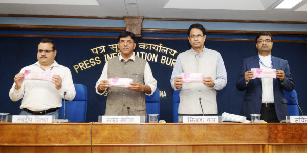 The Minister of State for Road Transport & Highways, Shipping and Chemicals & Fertilisers, Mansukh L. Mandaviya launching the 'Janaushadhi Suvidha - Oxo-Biodegradable Sanitary Napkins' under the 'Pradhan Mantri Bhartiya Janaushadhi Pariyojana (PMBJP)', in New Delhi on June 04, 2018. 	The Director General (M&C), Press Information Bureau, Shri Sitanshu R. Kar and other dignitaries are also seen.