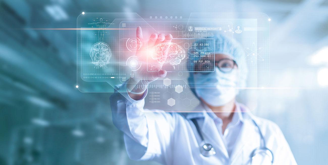 Resultado e anatomia humana na interface tecnológica digital futurista computador virtual