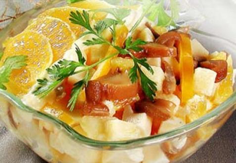 Грибной салат сапельсином