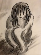 Charcoal sketch of child in fetal position