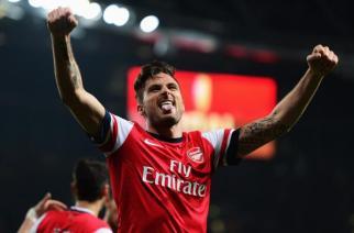 Giroud celebra el tercer gol del partido