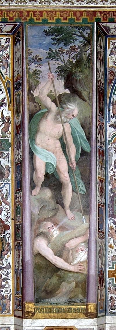 Alegoria de Aquilón, el viento del norte, que simboliza las herejias nórdicas (Nicolò Circignani,  conocido como el Pomarancio). Bajo las figuras se lee ab Aquilone pandetur omne malum (Ger. 1,14),  recuperada tras la restauración del fresco