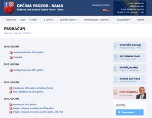 Službena stranica sa izvješćima o proračunu općine Prozor-Rama, ali bez izvješća