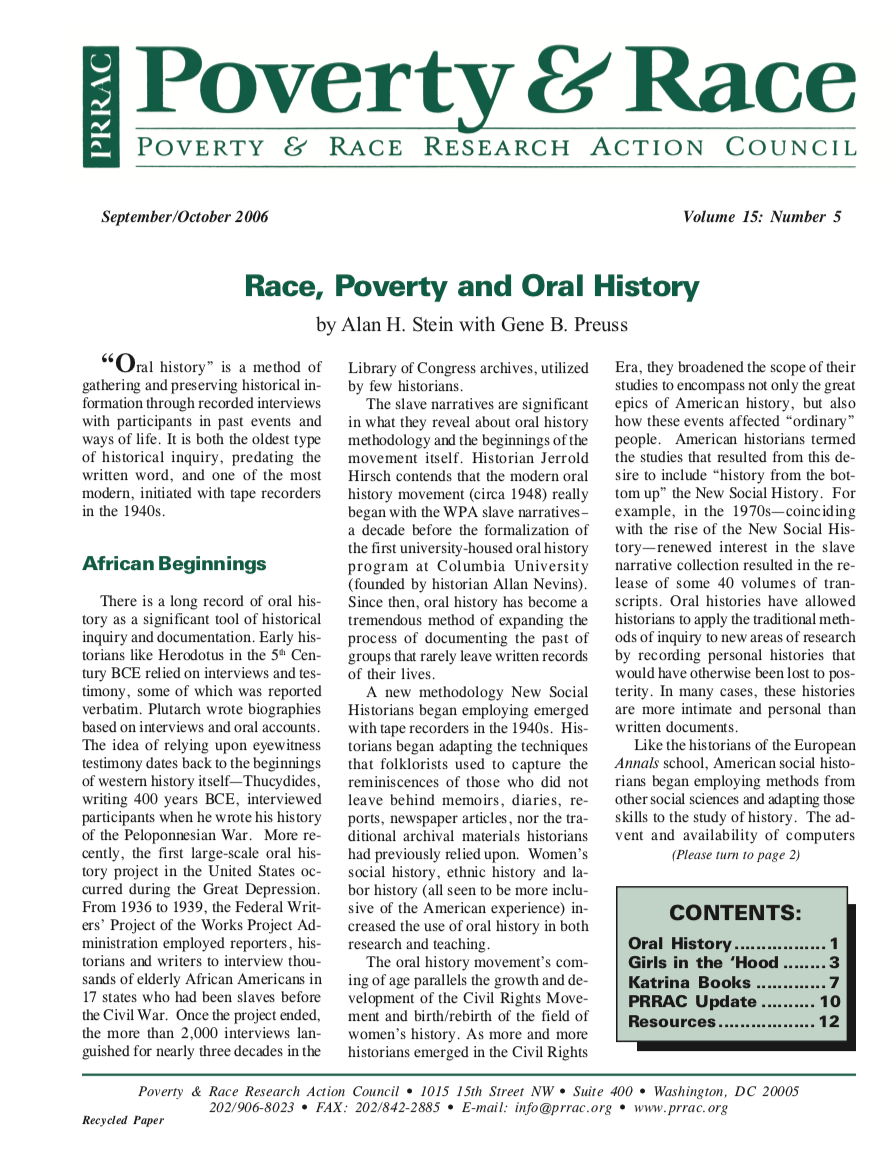 Race, Poverty and Oral History