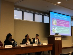 Panel: The Promise of Effective Housing Mobility Programs. From left to right: Catherine Johnson (Housing Choice Partners), Shamira Lawrence (Inclusive Communities Project), and Andrea Juracek (Housing Choice Partners).