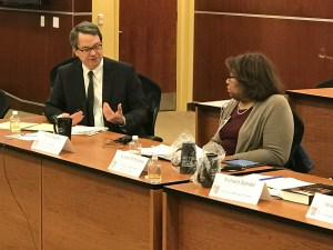 "UDC Law School's ""FHA @ 50: Renewing our Commitment to Housing Equity Symposium:"" PRRAC Executive Director Philip Tegeler and other panelists at event."