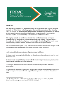 An Anti-Racist Agenda for State and Local Education Agencies (PRRAC, July 2020)