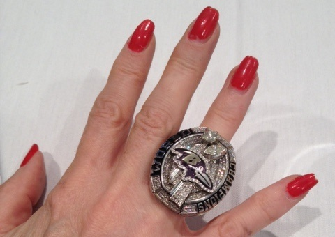 A. Liz Smith's hand with Super Bowl Ring