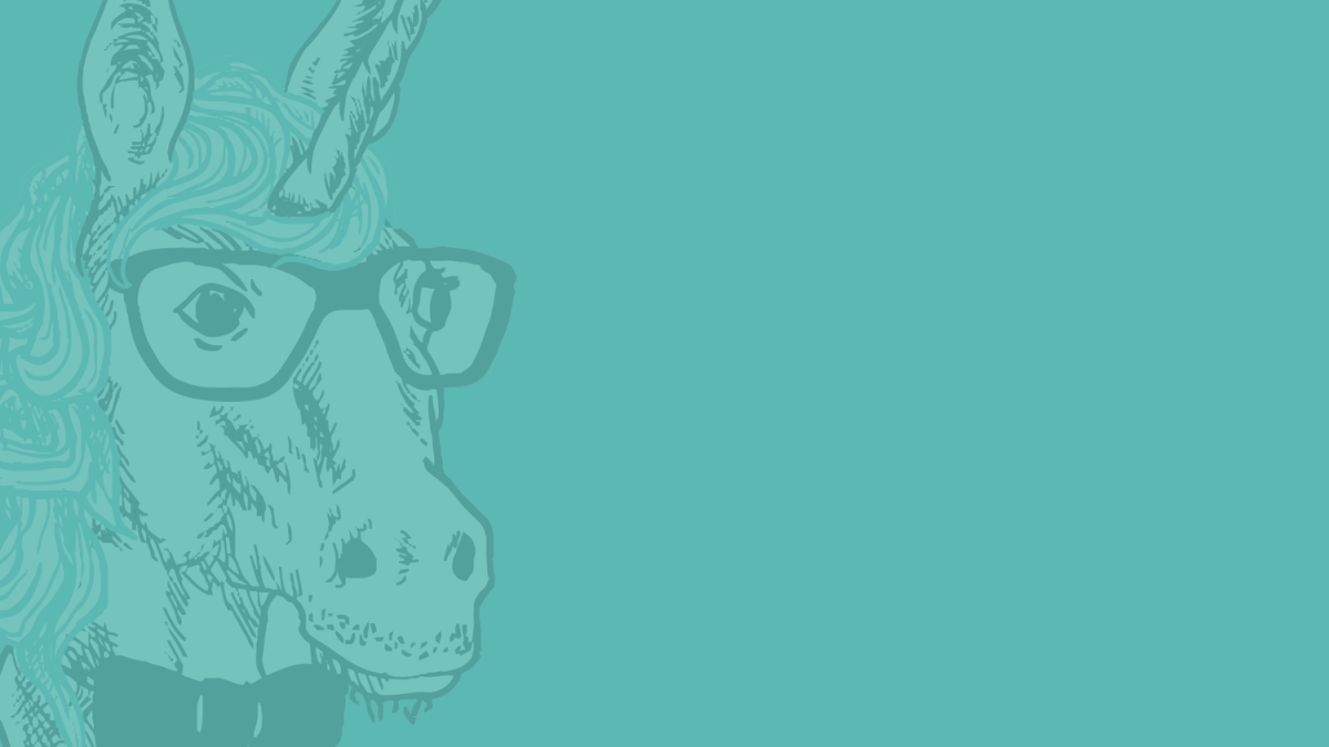 Illustration of the bust of a unicorn. The unicorn is wearing a bowtie and glasses.