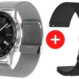 Smartwatch DT95 Plateado + Correa Negra