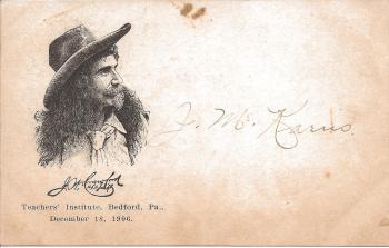 captain jack crawford teachers institute bedford pa 1906 postcard jm k