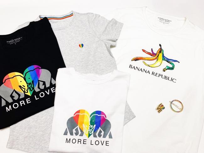 Tシャツ 各4,900円、 ブローチ 4,900円、 ヘアアクセ 3,900円(すべて税込み価格)