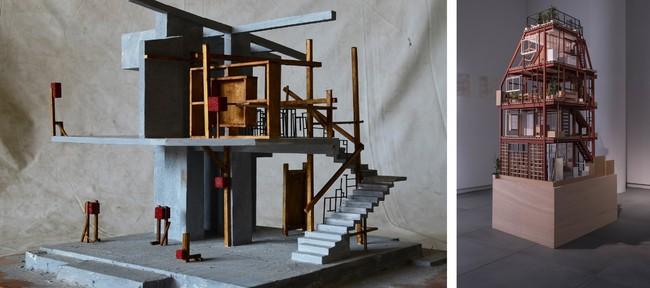 左)佐藤研吾 「シャンティニケタンの家」 模型 ©In-Field Studio  右)能作文徳 「西大井のあな」 模型 ©️Ivan Bonev