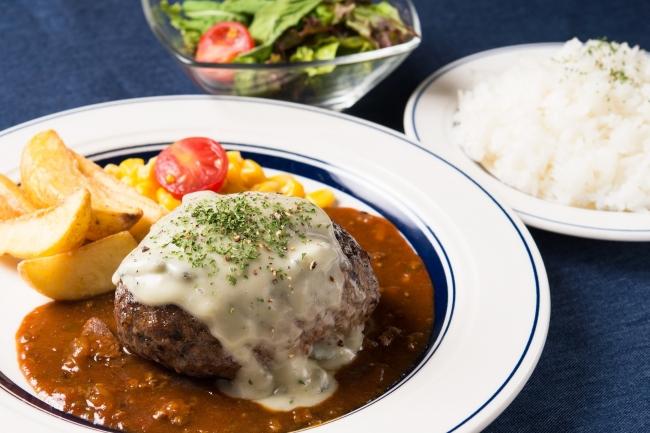 熟成牛ゴルゴンゾーラチーズハンバーグランチ〔ライス・サラダ付〕:1,580円(+税)