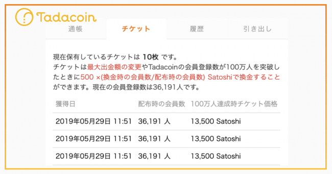 チケットを10枚持っている場合のTadacoin(タダコイン)内画面