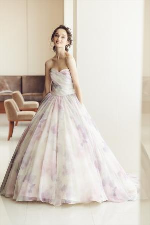 水彩で描いたようなフラワープリントのブラスオリジナルドレス
