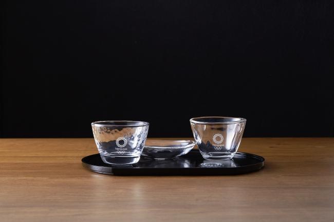 酒器(ガラスぐい呑み・ガラス小皿・半月盆)