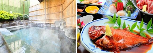 (左から) 2位「熱海温泉 源泉の宿ホテル松風苑」の女性用露天風呂と、女子会プランに含まれる「金目鯛の姿煮」。