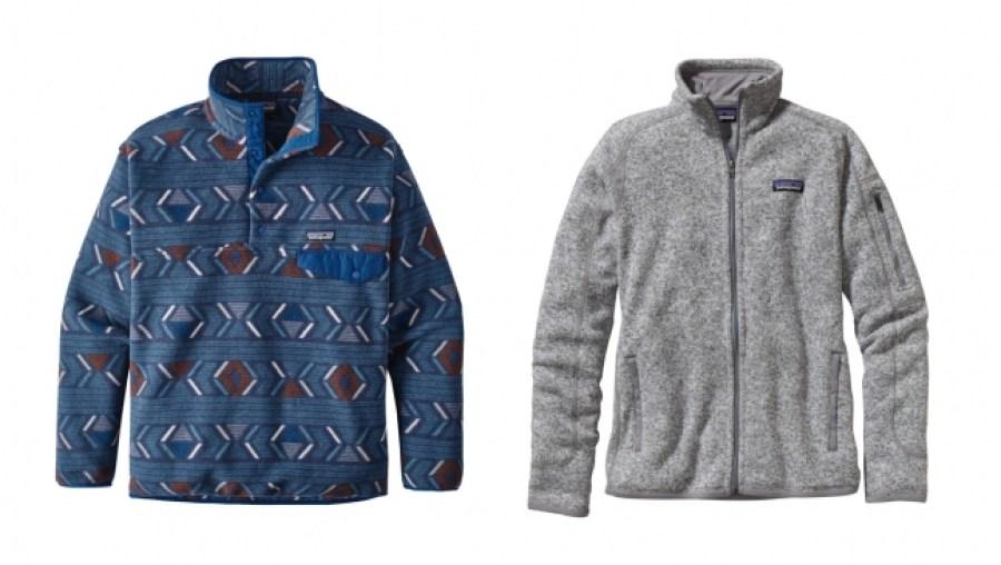 メンズ・シンチラ・スナップT・プルオーバー(左)、ウィメンズ・ベター・セーター・ジャケット(右)