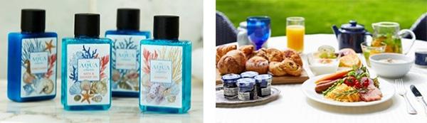 (左から)アメニティ「Aqua」イメージ、朝食イメージ