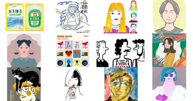 「LIVE ART ONLINE by vision track」や似顔絵ブースに出店するクリエイターの作品例