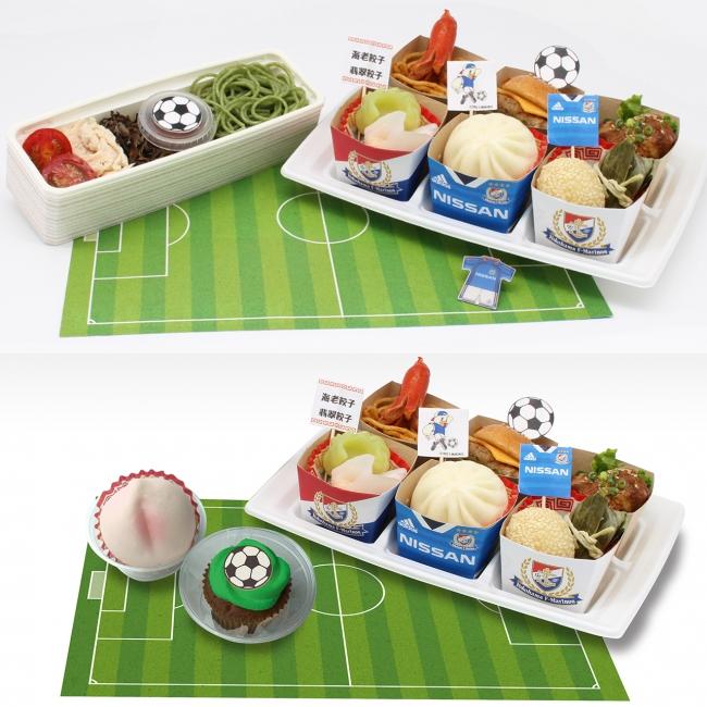 2人前にはトリコロール冷やし中華に加え、  デザート(桃まんとサッカーボールカップケーキ)が付きます。