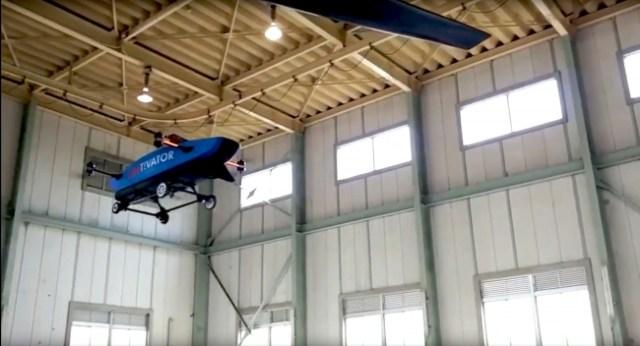 無人試作機での屋内飛行試験
