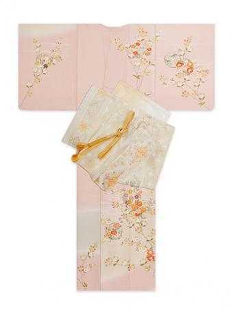 ピンク四季花枝の丸に橋