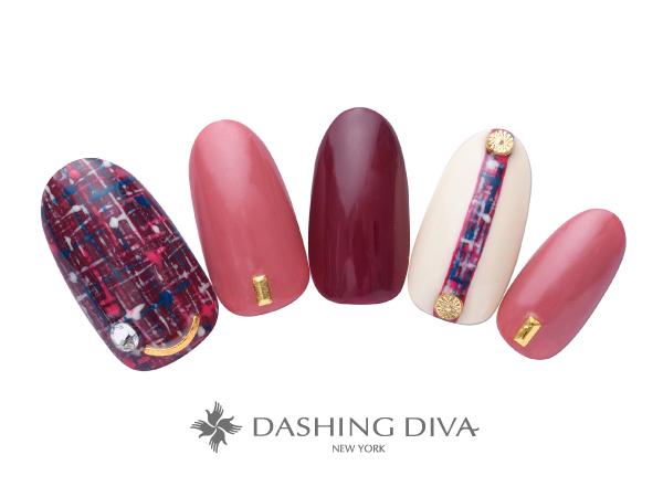 チェックのラインで差をつけた秋色ピンクネイル ★DASHING DIVAネイルコンテストトレンドデザイン賞