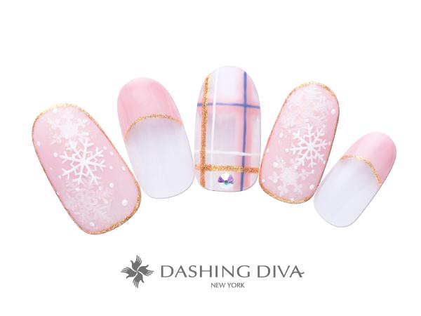 冬を感じる雪の結晶とチェックアートのネイル ★DASHING DIVAネイルコンテスト最優秀デザイン賞