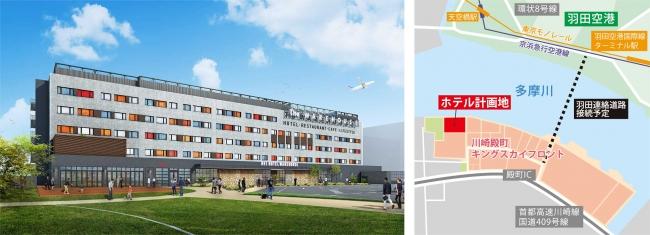 左:ホテル外観 右:位置図