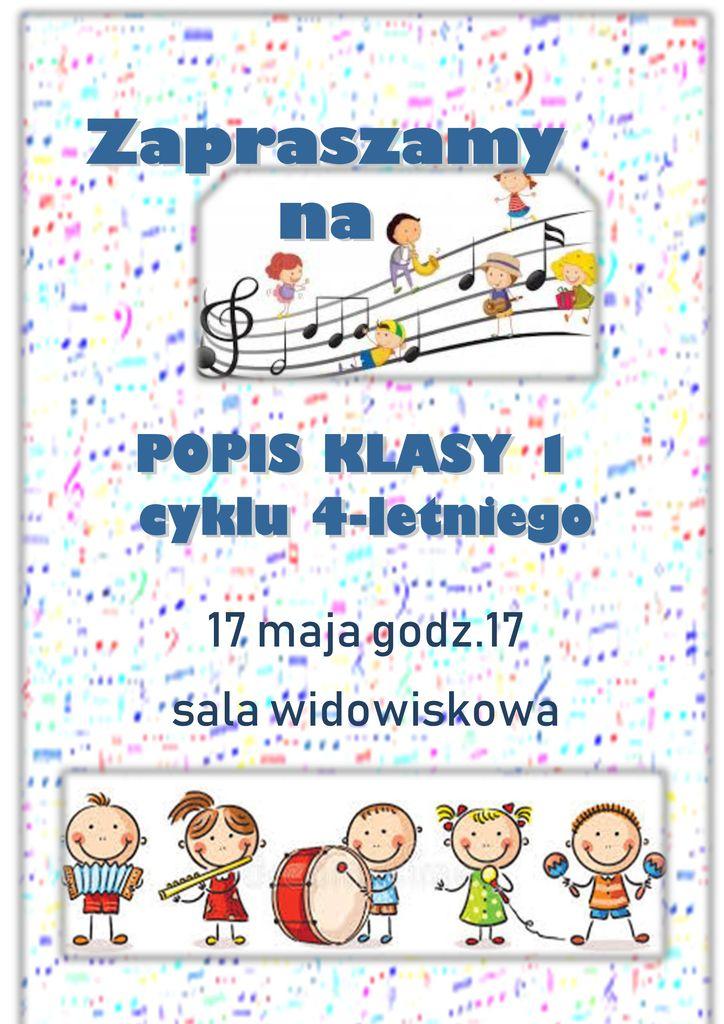 Zaproszenie Na Popis Klasy 1 Cyklu Czteroletniego Publiczna Szkoła