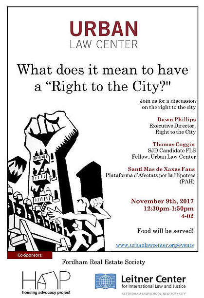 """PAH participated at aFordham University School of Lawpanel:What does it mean to have a """"Right to the City?"""""""