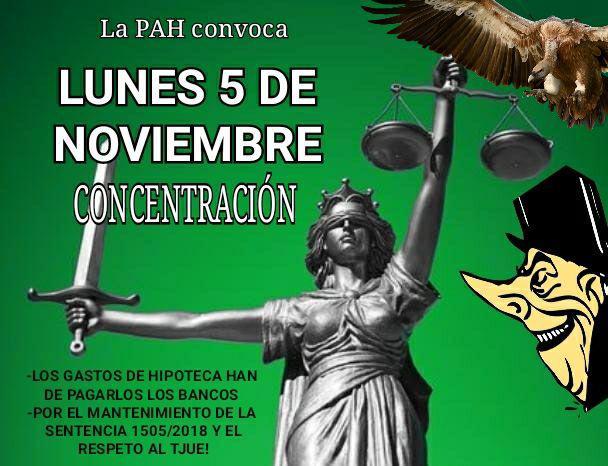 Este lunes 5 de noviembre,  la PAH inicia nuevas movilizaciones para que la banca pague por todas las cláusulas abusivas frente a los intentos de blanquearlas.