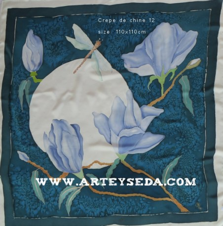 """Pañuelo seda """"luna y Magnolia"""""""