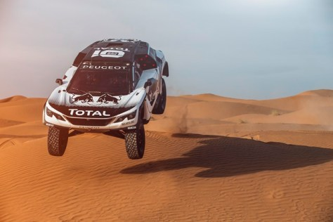 Stephane Peterhansel from Team Peugeot Total performs during a test run with the new Peugeot 3008 DKR in Erfoud, Morocco on September 18, 2016