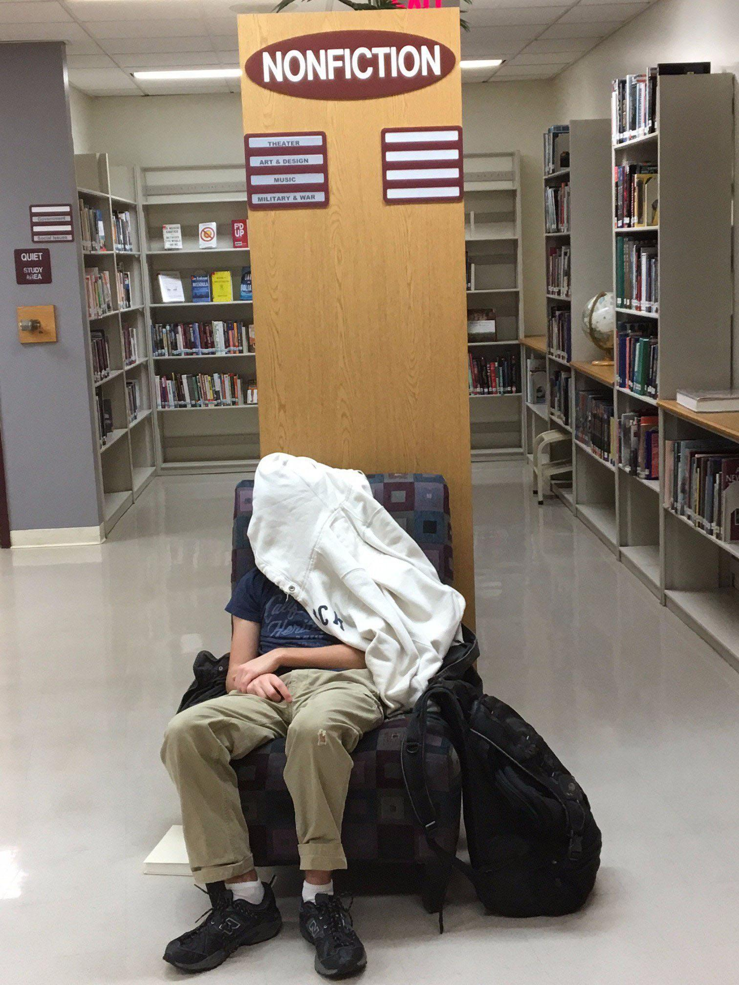 Dr. Koch tweeted this picture of a sleepy student in the library January 17, 2017.