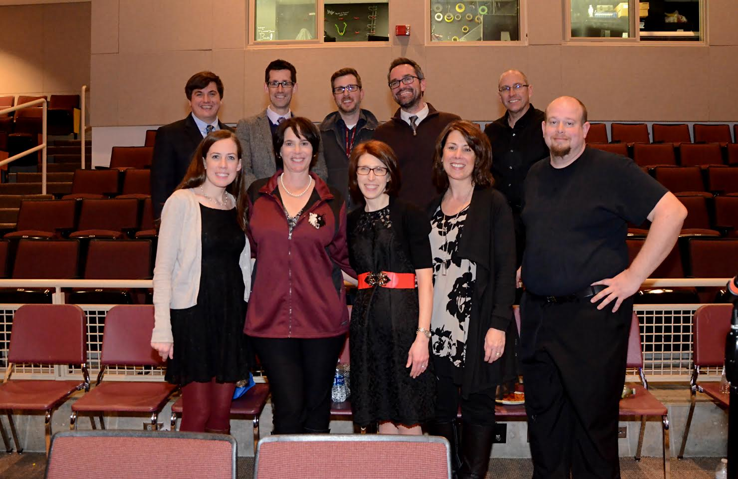 Tale of Two Cities musical author Jill Santoriello (first row, second from left) poses with the musical's directors.