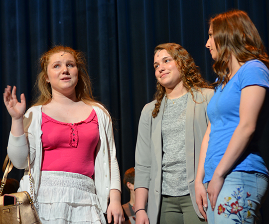 Senior Shannon Batliner (middle) played Taylor McKessie in this year's High School Musical.