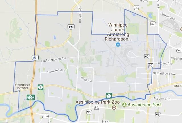 карта района St. James-Assiniboia