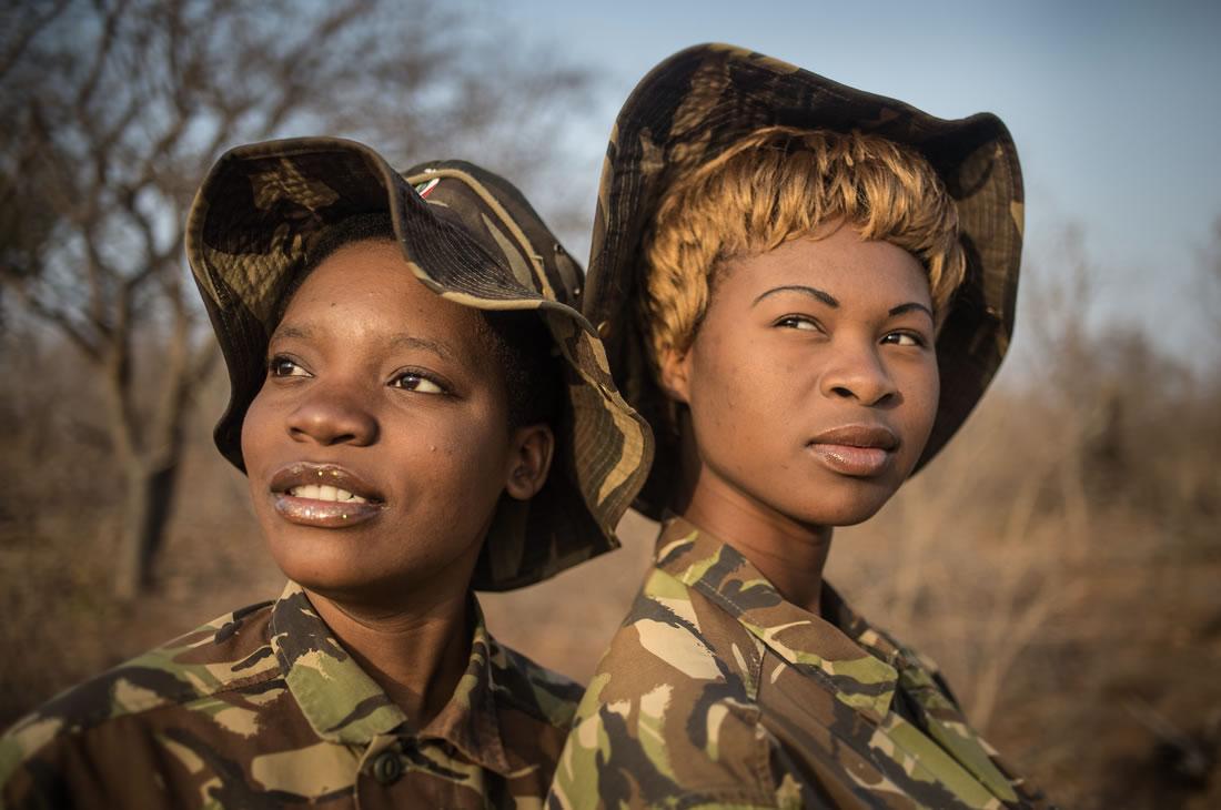 Black Mambas Women Anti-poaching Unit - two-women-standing-faces-detail